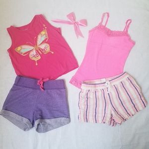 Bundle shorts layer 8 & tops justise pink size 5